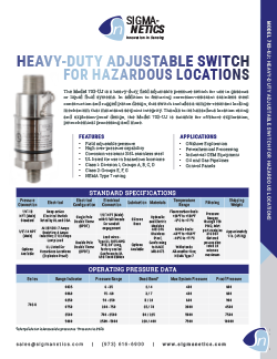 Pressure Switch Data Sheet 703-UJ