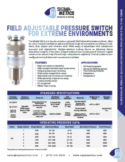 Pressure Switch Data Sheet 744-C